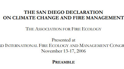 THE SAN DIEGO DECLARATION  ON CLIMATE CHANGE AND FIRE MANAGEMENT